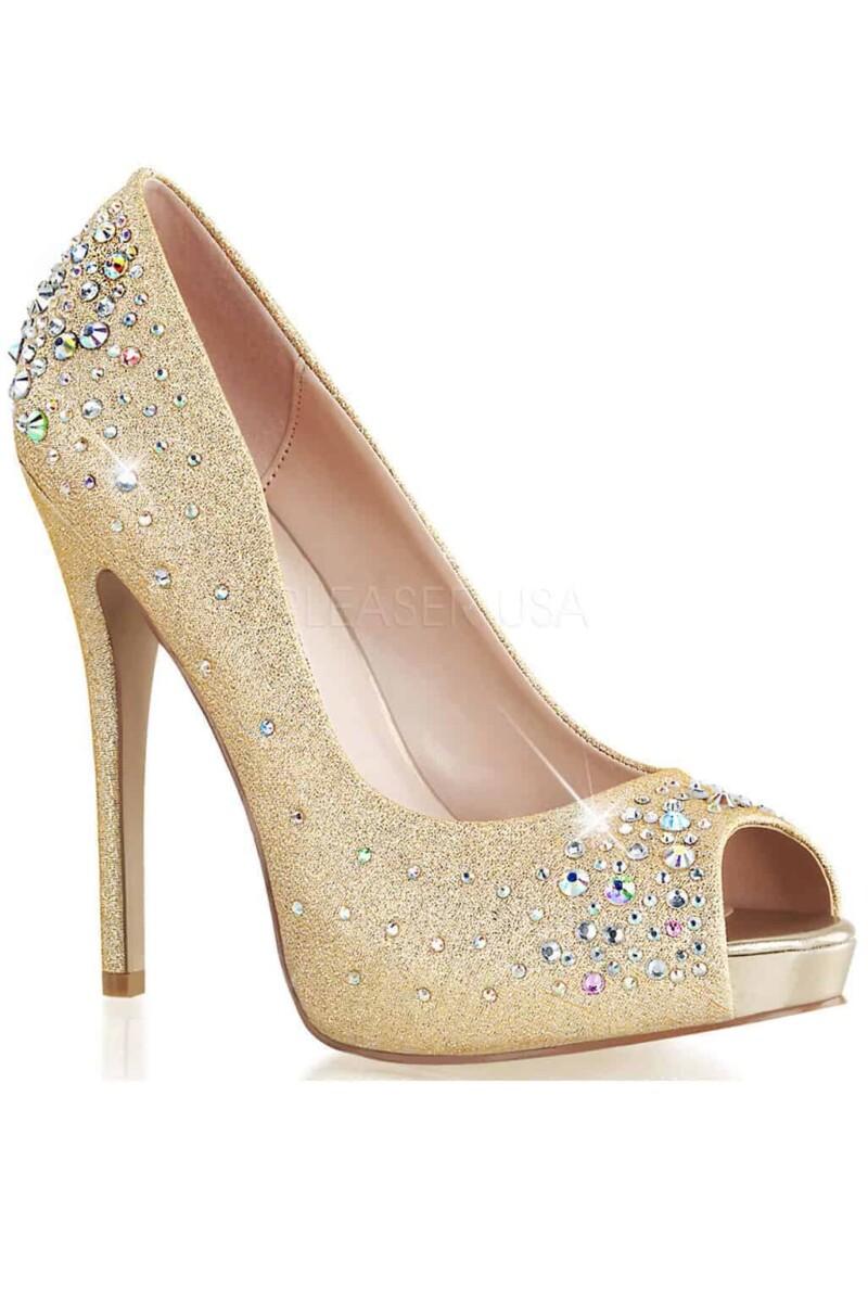 Scarpa oro con cristalli multicolor open toe