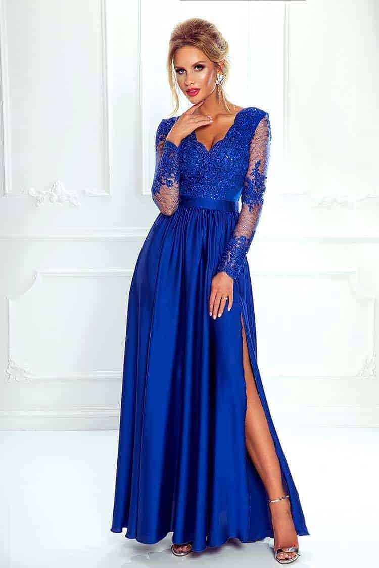 Elegante abito in raso di seta blu elettrico